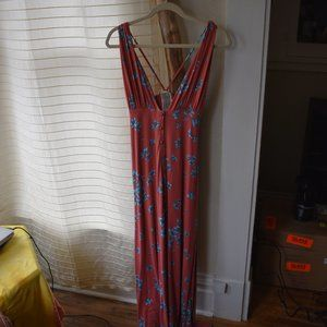 Free People Maxi Dress (orange with blue flowers)